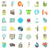 Communication in business icons set, cartoon style. Communication in business icons set. Cartoon style of 36 communication in business vector icons for web Stock Photography