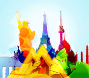 Communication -business-travel. Abstract Background with  colored constructions Stock Image