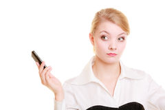 Communication. Businesswoman rejecting call Stock Photo