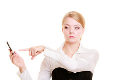 Communication. Businesswoman rejecting call Royalty Free Stock Photography