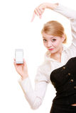 Communication. Businesswoman showing cell phone Royalty Free Stock Images
