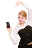 Communication. Businesswoman showing cell phone Royalty Free Stock Photo