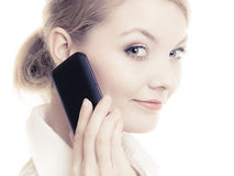 Communication. Businesswoman talking on cell phone Royalty Free Stock Image