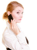 Communication. Businesswoman talking on cell phone Stock Photo