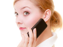 Communication. Businesswoman talking on cell phone Stock Image
