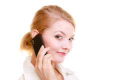 Communication. Businesswoman talking on cell phone Stock Photos