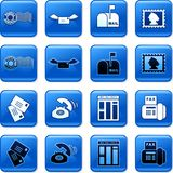 Communication buttons. Collection of blue square communication rollover buttons Royalty Free Stock Images