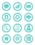 Communication buttons blue set Royalty Free Stock Photography
