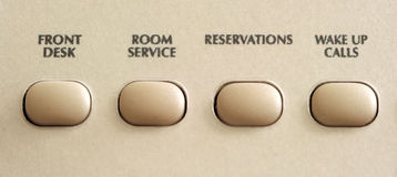 Communication buttons on hotel phone. Communication buttons on a hotel phone Stock Photo