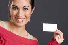 Good Communication Woman Holds Business Card Stock Photography