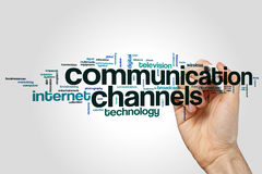 Communication channels cloud concept on grey background Stock Photos