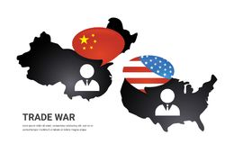 Communication between China and US America. US America and China flags on glossy speech bubble. USA and China trade royalty free illustration