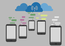 Communication with cloud Stock Image