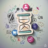 Communication collage with icons background Stock Photography