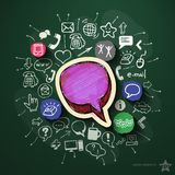 Communication collage with icons on blackboard. Vector illustration Stock Photos