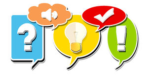 Communication. Colored ticket with symbol web and light bulb Royalty Free Stock Images