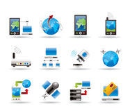 Communication, computer and mobile phone icons Stock Image