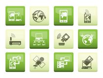 Communication, computer and mobile phone icons over color background. Vector icon set stock illustration