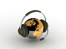 Communication concept. An orange black earth with headphone Royalty Free Illustration