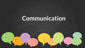 Communication concept with bublle symbol  chalk board blackboard as background Stock Photo