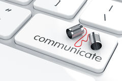 Communication concept. 3d render of can phone on the keyboard. Communication concept Royalty Free Illustration