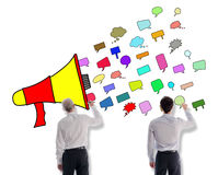 Communication concept drawn by businessmen Royalty Free Stock Photos