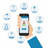 Communication concept with flat icons.  Stock Image