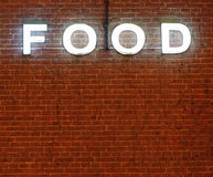 Communication concept , food neon lettering Stock Photography