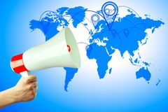 Communication concept. Hand holding megaphone on abstract blue background with map and pointer. Communication concept. 3D Rendering Royalty Free Stock Image