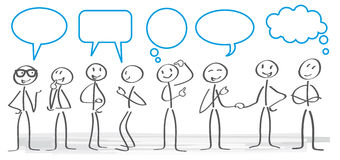 Communication concept  illustration. Stick figures with dialog speech bubbles Stock Photo
