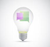 Communication concept inside a light bulb Royalty Free Stock Photos