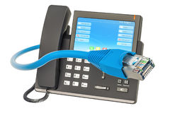 Communication concept. IP phone with lan cable, 3D rendering. Communication concept. IP phone with lan cable, 3D vector illustration