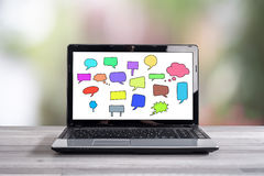 Communication concept on a laptop screen Royalty Free Stock Image