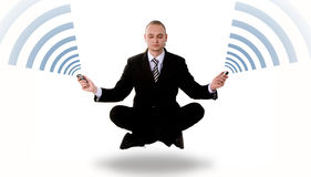 Communication concept: levitating business yoga Stock Images