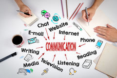 Communication concept. The meeting at the white office table Stock Photography