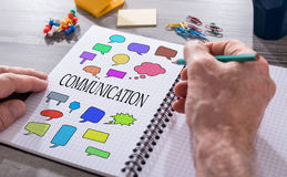 Communication concept on a notepad Stock Photo
