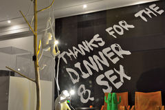 Communication concept: thanks for dinner and sex Stock Image