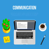 Communication concept. Top view office workspace vector illustration