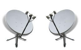 Communication concept two satellite antennas Royalty Free Stock Photo