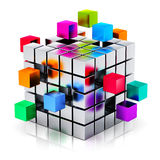 Business teamwork, internet and communication conc. Creative abstract business teamwork, internet and communication concept: colorful cubic structure with Stock Photography