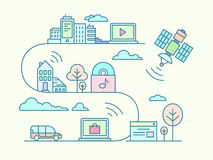 Communication and connection concept. Concept of communication and connection. WiFi and network, remotely communicate, line vector illustration Royalty Free Stock Images