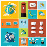 Communication And Connection Flat Icon Set Royalty Free Stock Photo