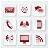 Communication Connection Flat Icons Set Stock Photo