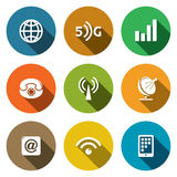 Communication and connection flat icons set Stock Photo