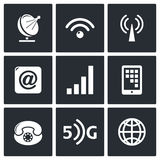 Communication and connection icons set Royalty Free Stock Photo