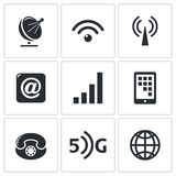 Communication and connection icons set Stock Photos