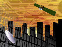 CITYSCAPE HIGH TECH COMMUNICATIONS INDUSTRY TECHNOLOGY royalty free illustration
