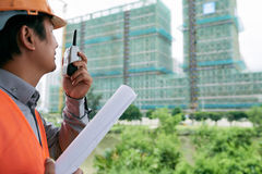 Communication on construction site Stock Photo