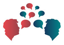 Communication. Conversation between the two men. There are two faces and a lot of communication bubbles in red and blue Royalty Free Stock Photography