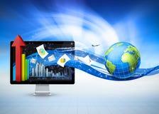 Communication d'affaires de globe Images libres de droits